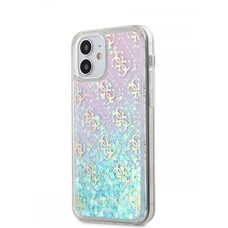 Чехол-бампер Silicon Case для iPhone 12 mini (5.4) Guess Liquid Glitter 4G Hard Iridescent Pink
