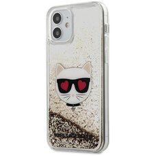 Чехол-накладка для iPhone 12 mini (5.4) Lagerfeld Liquid glitter Choupette's head Hard Gold