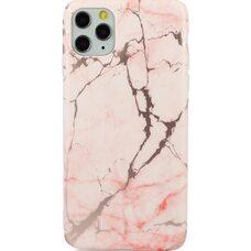 Ультратонкий  чехол-накладка для iPhone 11 PRO Golden elements силикон. Розовый мрамор