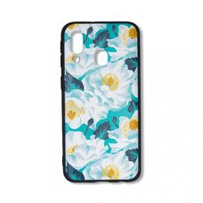 Чехол для Samsung Galaxy A40. (Белые цветы)