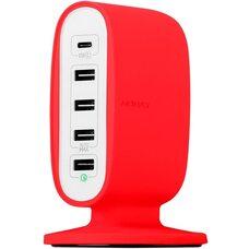 Сетевое зарядное устройство Momax U.BULL (UM5FTC) - держатель 5-PORT TYPE-C/4 USB Красный