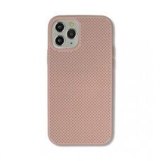 Чехол  для Apple iPhone 12/12 Pro. Силиконовый с перфорацией. (Розовый песок)