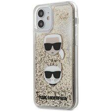 Чехол-накладка для iPhone 12 mini (5.4) Lagerfeld Liquid glitter Karl and Choupette heads Hard Gold