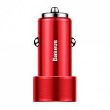 Автомобильное зарядное устройство BASEUS SMALL SCREW QC 3.0 36W TYPE C PD+USB CAXLD-A09 (красный)