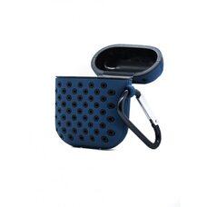 Чехол для AirPods 1/2 Silicon case с перфорацией (Тёмно-синий-чёрный)