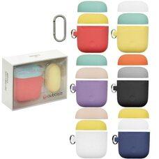 Чехол для AirPods 1/2 силиконовый разноцветный с карабином + дополнительная крышка (желтый)