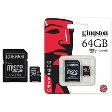 Карта памяти KINGSTON CANVAS 64GB microSDXC I Class 10 80Mb/s (с адаптером SD)
