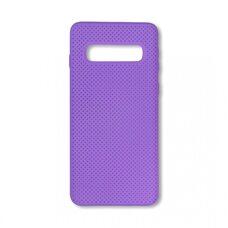 Чехол  для Samsung Galaxy S10 Plus. Силиконовый с перфорацией. (Фиолетовый)
