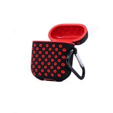 Чехол для AirPods 1/2 Silicon case с перфорацией (Чёрно-красный)