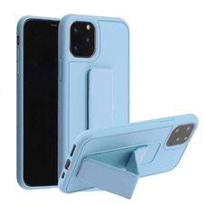 """Чехол-подставка для iPhone 11 6.1"""" с магнитом и защитой камеры серо-голубой"""