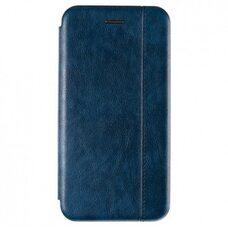 Кожаный чехол-книга для Apple IPhone 12/12Pro. Vintage Line. (Тёмно-синий)