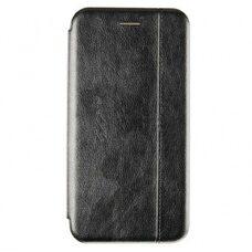 Кожаный чехол-книга для iPhone X/XS VINTAGE LiNE черный с защитой микрофона, батареи, камеры и экрана