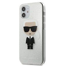 Чехол-накладка для iPhone 12 mini (5.4) Lagerfeld PC/TPU Ikonik Karl Hard Glitter Silver