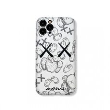 Силиконовый чехол-накладка для Apple iPhone 11 Pro.  New Luxo. Brand. Kaws. X. Жесты. (Белый). KS-24
