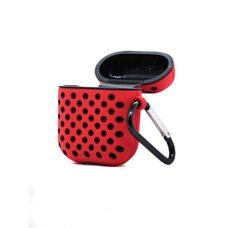 Чехол для AirPods 1/2 Silicon case с перфорацией (Красно-чёрный)