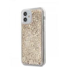 Чехол-бампер Silicon Case для iPhone 12 mini (5.4) Guess Liquid Glitter 4G Hard Gold NEW
