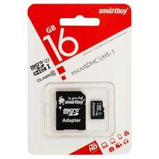Карта памяти Smartbuy 16GB microSDHC Сlass 10 (с адаптером)